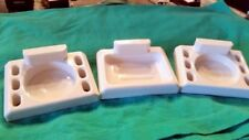 Vintage Ceramic Wall Mount Soap Dish & Two Soap Dish / Tooth Brush Holders