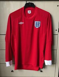 ENGLAND FA FOOTBALL SHIRT AWAY RED 2010 WORLD CUP LONG SLEEVE SIZE L