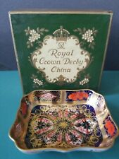 Vintage Royal Crown Derby OLD IMARI 1128 Tray/Trinket Dish Mint in Box
