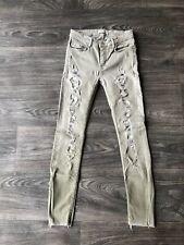 e2c0b1111e8 Zara Women's Distressed Raw Hem Skinny Jeans Light Green Size 2