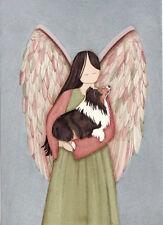 Tri-color shetland sheepdog (Sheltie) with Angel / Lynch signed folk art print