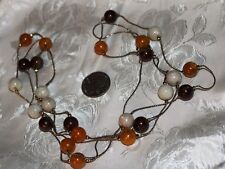 """VTG BROWN,BIEGE&CARMEL BEADS ON GOLDTONE CHAIN NECKLACE 60"""" EXC FOR SWEATHERS!"""