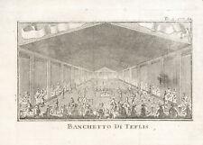 BANCHETTO DI TEFLIS (PERSIA, IRAN) - THOMAS SALMON Incisione Originale 1700