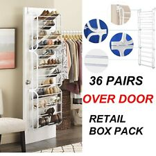 36 PAIR OVER DOOR HANGING SHOE RACK ORGANISER STORAGE STAND 12 TIER SHELF HOLDER