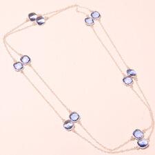 "Tanzanite Quartz Faceted Handmade Gemstone Fashion Jewelry Necklace 36"" SH-02541"