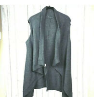 Adrianna Papell Women's Open Front Long Knit Vest Charcoal Gray Size Large