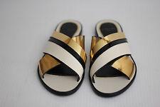 LANVIN Criss Cross Mirror Metallic Matte Slide Sandal - Black / Gold - 8.5 (S36)