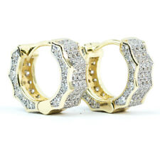 Two Tone Yellow Gold 925 Sterling Silver Fully Iced CZ Huggie Hoop Earrings