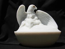 American Eagle with Baby Chicks Dish and Lid Westmoreland Glass L@@K