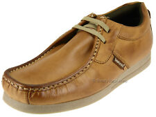 Base London Storm Mens Waxy Leather Chunky Comfy Moccasin Casual Shoes Tan Brown UK 8