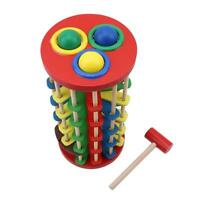 Pound And Roll Wooden Tower with Hammer Knock The Ball Roll Off Ladder Toys 6L