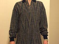 Focus Golf Long Sleeve Polo Shirt Medium Made In Italy Wool Blend