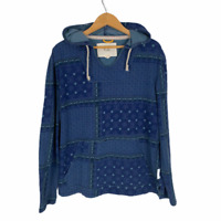 Koto Mens Sz M Pullover Hoodie Sweater Kangaroo Pocket Blue Patchwork Tribal GUC