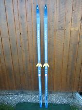 """VINTAGE Wooden 75"""" Long Skis with White and Blue Finish"""