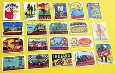 Retro vintage style USA TRAVEL U.S. STATE Stickers Decals SET OF 20!! Caravan