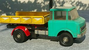 VINTAGE TRUCK TIN PLASTIC TOY FRICTION GERMANY 1970 DDR GDR DUMP TRUCK