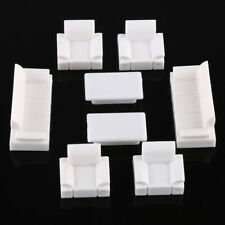 White Model Sofa Set Plastic 1/50 O Scale Dolls House Miniatures Furniture Toy