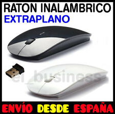 RATON MOUSE INALAMBRICO WIRELESS EXTRAPLANO PLANO NEGRO BLANCO USB PARA PC