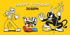 Birthday banner Personalized 4ft x 2 ft  Cuphead