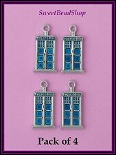 4 Silver Colour Blue Enamelled Vintage Style British 'POLICE BOX' charms