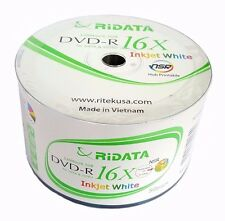 200 RITEK RIDATA Blank DVD-R DVDR White Inkjet Printable 16X 4.7GB Media Disc