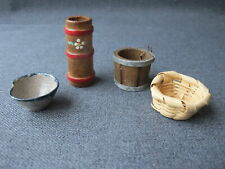 Vintage wood, wicker & pottery miniature vases for dollhouse crafts making lot