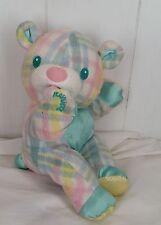 Playskool Plaid Snuzzles Vibrating Blankie Bear 5045 Stuffed Plush Toy 1996