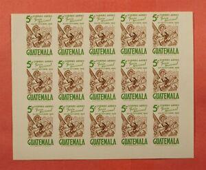 IMPERF PROOF 1953 GUATEMALA SHEET #C190 MNH * EX LEO MALZ
