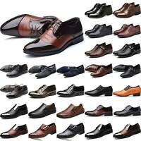 Mens Leather Business Italian Work Wedding Formal Pointy Toe Smart Shoes Sizes