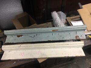 PAIR c1880 VICTORIAN HEART pine window DOOR header pediment crown MOLDING 41& 45
