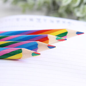 4X Rainbow Color Wooden Art Pencils Drawing Painting Sketch For Kids School