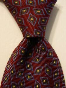 POLO RALPH LAUREN Men's 100% Silk Necktie USA Designer Geometric Wine/Blue GUC