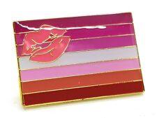 Enamel Pin Badge Lipstick Lesbian Pride Rectangular Flag Gold Plated LGBT