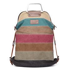 Women Shoulder Bag Satchel Crossbody Handbag Rainbow Patchwork Canvas Stripe