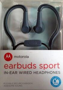 Genuine Motorola Sport Earbuds SH008 Flexible Earhook IP54 Water Resistance Grey