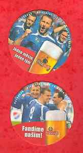 2004 TWO CZECH BEER COASTERS OSTRAVAR # football and beer