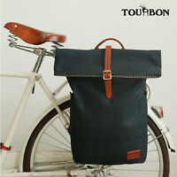 Tourbon Commuter Bicycle Bag Rear Cycling Roll Top Backpack Canvas Travel Bag