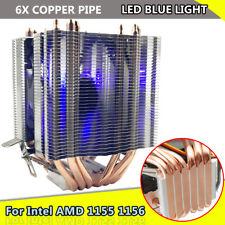 6 Pipe Aluminum LED CPU Cooler Fan Heatsink For Intel LAG1156/1155/1150/775 AMD