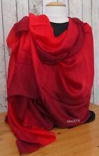 Schal Seide hell rot dip dye Seidenschal Tuch Stola Schultertuch Pashmina 190x84