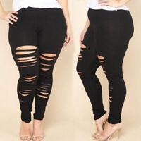 Women's Denim High Waist Skinny Ripped Pants Stretch Jeans Pencil Trousers L-3XL