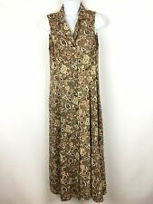 Vintage 90s All That Jazz Dress 7/8 Button Down Sleeveless Floral Grunge Boho