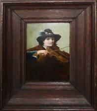 Superbe tableau 1890 signé : le jeune joueur de violon, type campagnard + cadre