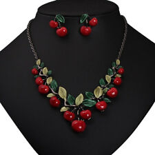 FX- 1 Set Vintage Red Cherry Fruit Jewelry Set Chic Bridal Necklace Earrings Che
