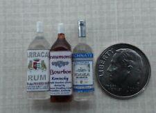 Dollhouse Miniature Set 3 Liquor Bottles -  Rum - Vodka - Bourbon 1:12 scale