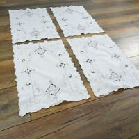 Set of 4 Vintage White Lace Embroidered Placemats 31 x 46cm Christmas Xmas