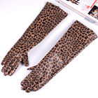 New Women's Genuine leather leopard print leather Punk long gloves customized