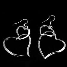 Pendantes d'oreilles esthétique joli simple Double coeurs circulaire unique mode