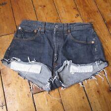 "Levi 501 Cut off Women's Denim shorts Blue High Waisted Hot pants W32"""