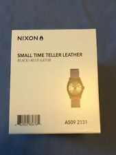 Nixon Women's Small Time Teller Leather Black Blue Gator Watch A5092131