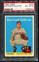 1958 Topps Baseball #197 HAYWOOD SULLIVAN Boston Red Sox UER ERROR PSA 8 NM-MT